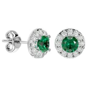 1 Carat Emerald and Halo Diamond Stud Earrings In 14 Karat White Gold