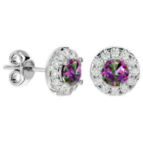 1 Carat Mystic Topaz and Halo Diamond Stud Earrings In 14 Karat White Gold