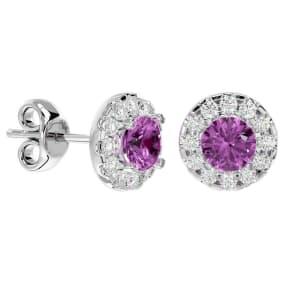 1 Carat Pink Topaz and Halo Diamond Stud Earrings In 14 Karat White Gold