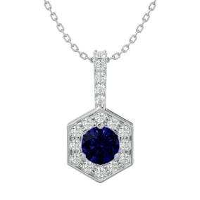 1/2 Carat Sapphire and Halo Diamond Necklace In 14 Karat White Gold, 18 Inches