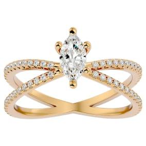 3/4 Carat Marquise Shape Diamond Engagement Ring In 14 Karat Yellow Gold
