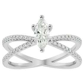 1 Carat Marquise Shape Diamond Engagement Ring In 14 Karat White Gold