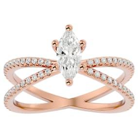 1 Carat Marquise Shape Diamond Engagement Ring In 14 Karat Rose Gold