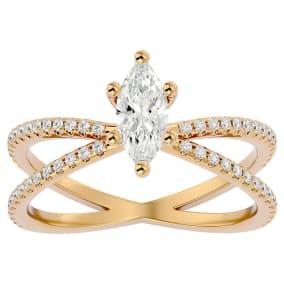 1 Carat Marquise Shape Diamond Engagement Ring In 14 Karat Yellow Gold