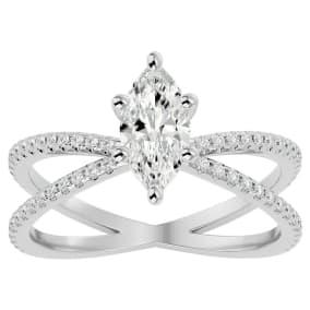 1 1/4 Carat Marquise Shape Diamond Engagement Ring In 14 Karat White Gold