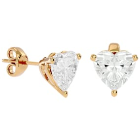 2 Carat Heart Shape Moissanite Stud Earrings In 14 Karat Yellow Gold
