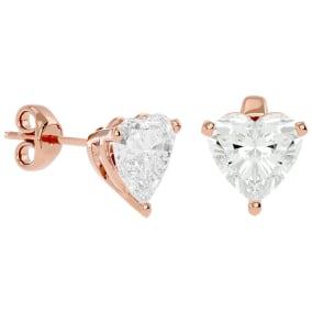 2 Carat Heart Shape Moissanite Stud Earrings In 14 Karat Rose Gold