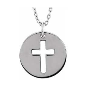 Cross Disc Necklace In 14 Karat White Gold, 16-18 Inches