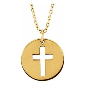 Cross Disc Necklace In 14 Karat Yellow Gold, 16-18 Inches