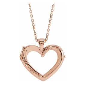 Rosary Heart Necklace In 14 Karat Rose Gold, 16-18 Inches