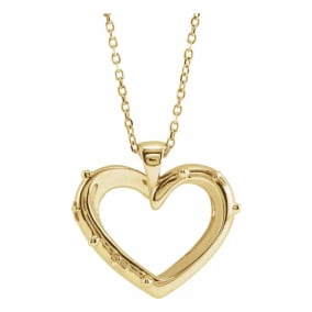 Rosary Heart Necklace In 14 Karat Yellow Gold, 16-18 Inches