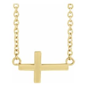 Sideways Cross Necklace In 14 Karat Yellow Gold, 16-18 Inches