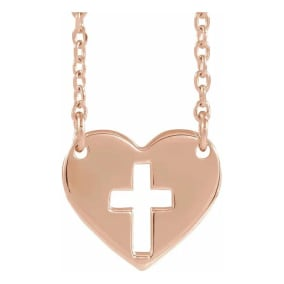 Cross In Heart Necklace In 14 Karat Rose Gold, 16-18 Inches