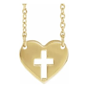 Cross In Heart Necklace In 14 Karat Yellow Gold, 16-18 Inches