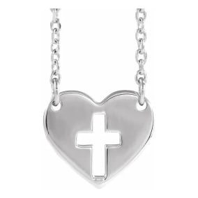 Cross In Heart Necklace In Sterling Silver, 16-18 Inches