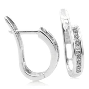 1/4ct Flip-Back Huggy Diamond Earrings in 10k White Gold