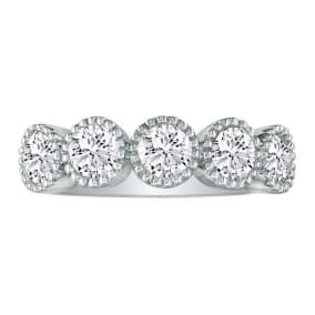 1ct Five Diamond Bezel Set Band in 14k White Gold. Closeout!