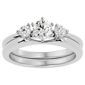 1/2 Carat Diamond Solitaire Ring With Enhancer In 14 Karat White Gold