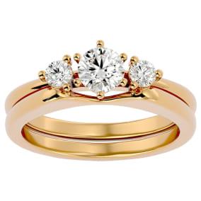 1/2 Carat Diamond Solitaire Ring With Enhancer In 14 Karat Yellow Gold