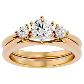 3/4 Carat Moissanite Solitaire Ring With Enhancer In 14 Karat Yellow Gold