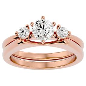 3/4 Carat Moissanite Solitaire Ring With Enhancer In 14 Karat Rose Gold