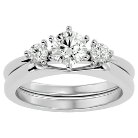 3/4 Carat Diamond Solitaire Ring With Enhancer In 14 Karat White Gold