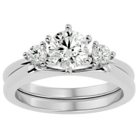 1 Carat Moissanite Solitaire Ring With Enhancer In 14 Karat White Gold