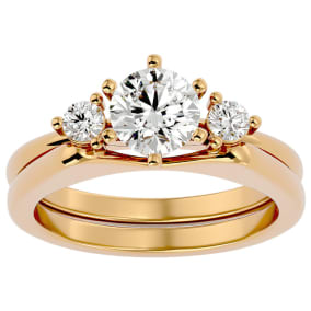 1 Carat Moissanite Solitaire Ring With Enhancer In 14 Karat Yellow Gold
