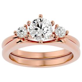 1 Carat Moissanite Solitaire Ring With Enhancer In 14 Karat Rose Gold