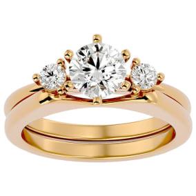 1 Carat Diamond Solitaire Ring With Enhancer In 14 Karat Yellow Gold