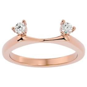 1/5 Carat Moissanite Ring Enhancer For 1 1/2 Carat Solitaire In 14 Karat Rose Gold