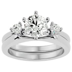 1 1/2 Carat Moissanite Solitaire Ring With Enhancer In 14 Karat White Gold
