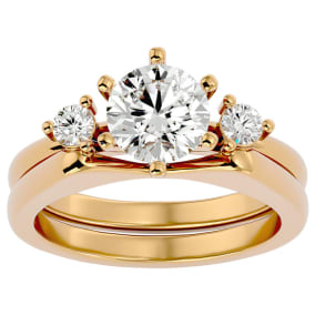 1 1/2 Carat Moissanite Solitaire Ring With Enhancer In 14 Karat Yellow Gold