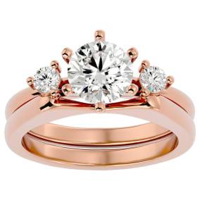 1 1/2 Carat Moissanite Solitaire Ring With Enhancer In 14 Karat Rose Gold