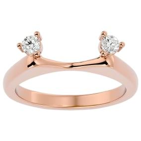 1/5 Carat Moissanite Ring Enhancer For 2 Carat Solitaire In 14 Karat Rose Gold