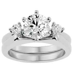 2 Carat Moissanite Solitaire Ring With Enhancer In 14 Karat White Gold