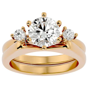 2 Carat Moissanite Solitaire Ring With Enhancer In 14 Karat Yellow Gold