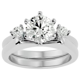 2 Carat Diamond Solitaire Ring With Enhancer In 14 Karat White Gold
