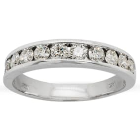 Previously Owned 1 Carat Mens Diamond Band Ring In 14 Karat White Gold, Size 9.5