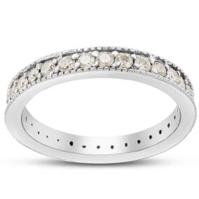 Previously Owned 1 Carat Diamond Milgrain Eternity Ring In 14 Karat White Gold, Size 8