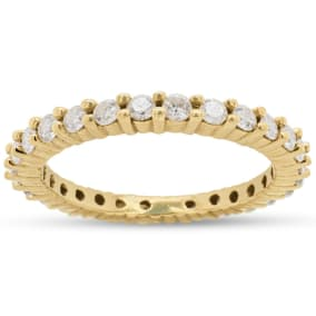 Previously Owned 1 Carat Diamond Eternity Ring In 14 Karat Yellow Gold, Size 8