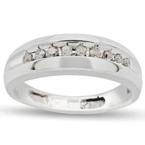 Previously Owned 1/8 Carat Mens Channel Set Diamond Band Ring In 14 Karat White Gold, Size 7