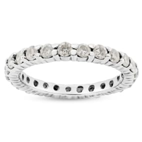Previously Owned 3/4 Carat Diamond Eternity Ring In 14 Karat White Gold, Size 5
