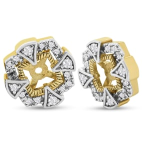 Previously Owned Diamond Earring Jackets, Fits 1/3-1/2ct Stud Earrings In 14 Karat Yellow Gold