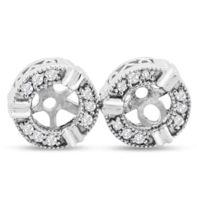 Previously Owned Diamond Earring Jackets, Fits 3/4-1ct Stud Earrings In 14 Karat White Gold