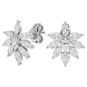 2 Carat Fancy Diamond Cluster Stud Earrings In 14 Karat White Gold