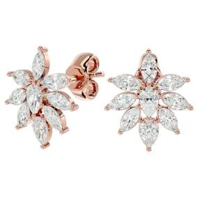 2 Carat Fancy Diamond Cluster Stud Earrings In 14 Karat Rose Gold