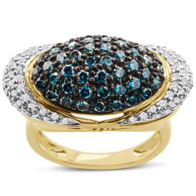 Previously Owned 1 3/4 Carat Blue and White Diamond Cocktail Ring In 14 Karat Yellow Gold, Size 7