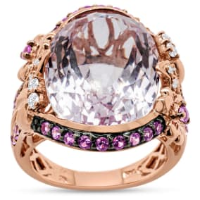 Previously Owned 24.15 Carat Kunzite, Pink Sapphire and Diamond Cocktail Ring In 14 Karat Rose Gold, Size 7