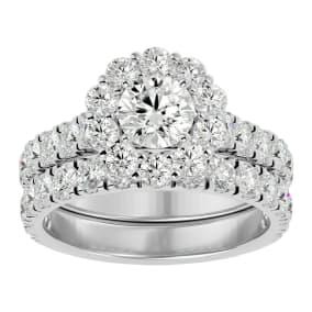 3 Carat Halo Diamond Bridal Set In 14 Karat White Gold. Huge Bridal Set At A Very Low Price